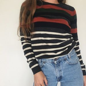 Merino wool striped retro sweater